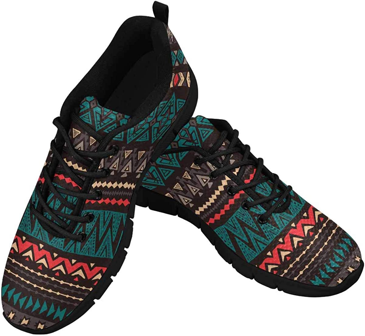 INTERESTPRINT Tribal Color Navajo Ethnic Women's Athletic Mesh Breathable Casual Sneakers Fashion Tennis Shoes