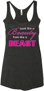 Buy Cool Shirts Ladies Look Like A Beauty Train Like A Beast Gym Tri Blend Racerback Tank Top