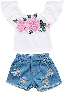 Toddler Girls Off Shoulder Rose Embroidered Print Tops+Hole Denim Shorts Set, Waymine