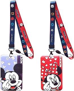 Courroie de Cou de Lanière Avec la Qualité, Disney Mickey and Friends Lanyard, Porte Carte Avec Cordon, 2 Porte-Badges Ave...