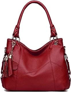 Genuine Leather Top Handle Satchel Handbag Tote Tassel Shoulder Bag Purse Crossbody Bag for Women