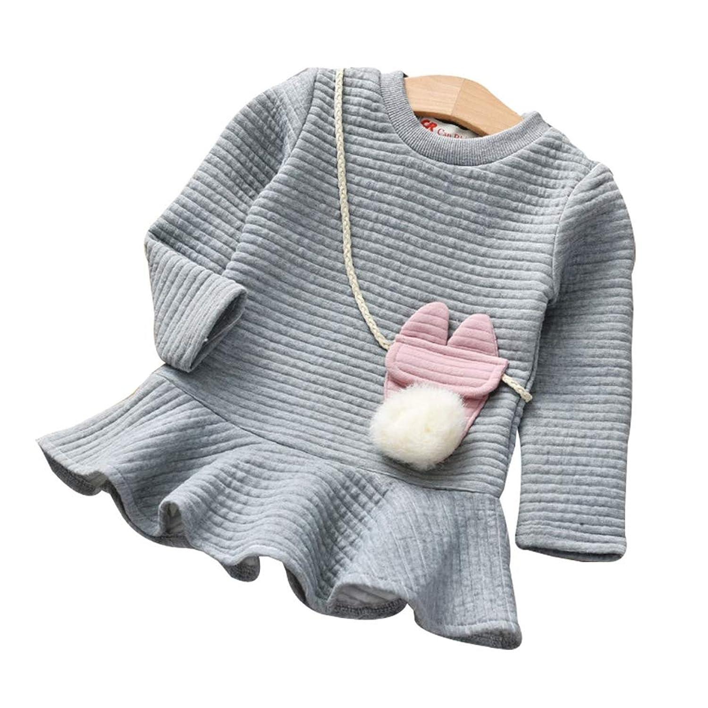 子供 ドレス Jopinica 漫画 ストライプ プリンセス スウェットシャツ ドレス 中?小児 ロングスリーブ ラウンドネック コットン コットン ファッション 日系 原宿風 安い 可愛らしい