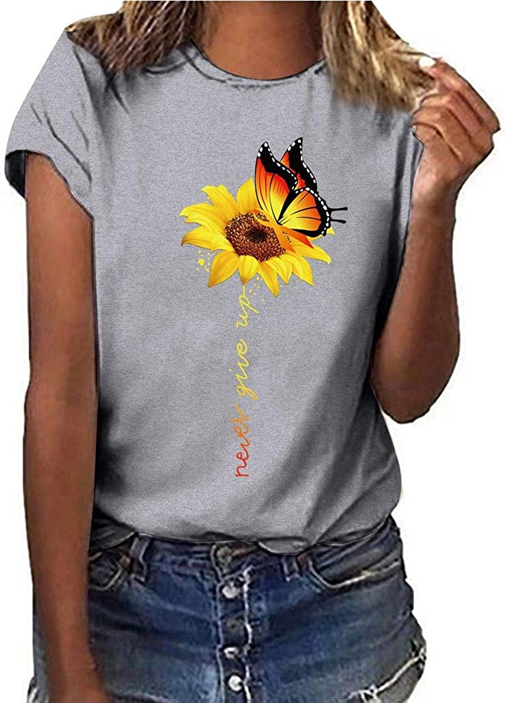 POLLYANNA KEONG Summer Tops for Women,Women's Elegant Lace V-Neck T-Shirts Causal Floral Printed Short Sleeve Tops