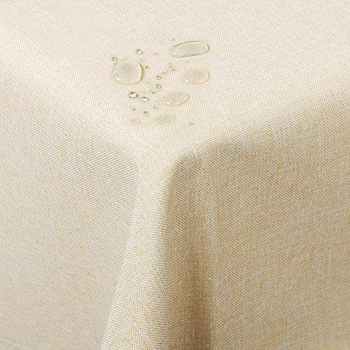 WOLTU TD3044ch Tischdecke Tischtuch Leinendecke Leinen Optik Lotuseffekt Fleckschutz pflegeleicht abwaschbar schmutzabweisend Farbe & Größe wählbar Eckig 130x260 cm Champagne
