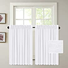 H.VERSAILTEX Natural Linen Blended Kitchen Curtains for Small Windows Privacy Protection Semi Sheer Curtain, Multi Size 52x40 - Inch/Rod Pocket Top Window Curtain Panel (Set of 2)