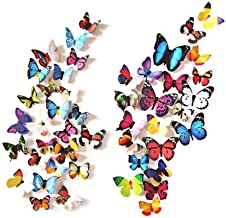 eoorau 80PCS Butterfly Wall Decals Wall-3D Butterflies Wall Decor Removable Mural Stickers Home Decoration Kids Room Bedro...