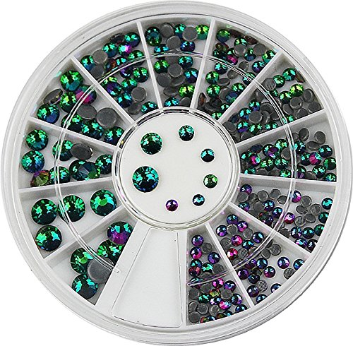Ca.250 Strasssteine Türkis, grün, lila, schwarz irisierend. 2 mm- 5mm. Rondell. (R-261)