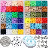 12000 Pcs 48 Color Clay Heishi Beads Kit Including Clay Beads, Letter Beads, Pendant, Jump Rings and Elastic Cords for DIY Jewelry Making Bracelets Necklace Earring Making Supplies