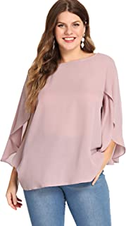 Women's Plus Size 3/4 Overlap Sleeve Boat Neck Chiffon Blouse Top