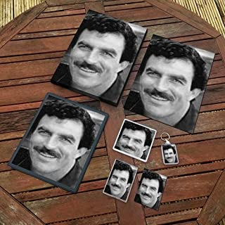 Tom Selleck - Original Art Gift Set #js004 (Includes - A4 Canvas - A4 Print - Coaster - Fridge Magnet - Keyring - Mouse Mat - Sketch Card)