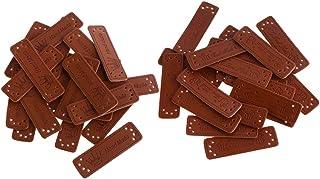 DYNWAVE 40 etiquetas de couro sintético marrom retrô feitas à mão, artesanato de costura