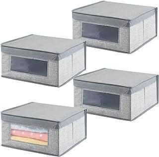 mDesign boîte de Rangement de Taille Moyenne (Lot de 4) – bac de Rangement en Tissu pour Chambre d'enfant – idéal pour des...