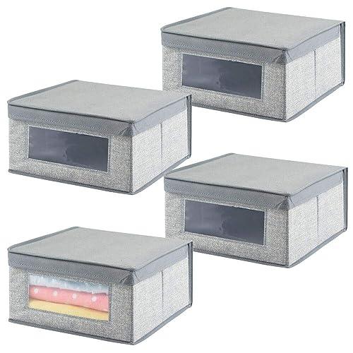 mDesign Juego de 4 cajas organizadoras medianas de tela – Organizadores para armarios para el cuarto