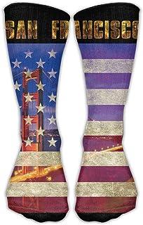靴下 抗菌防臭 ソックス アメリカ旗古典靴下サンフランシスコゴールデンゲートブリッジアメリカ国旗アスレチックストッキング