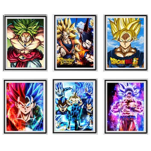MS Fun Instinct SSJ Super Saiyan Dragon Ball Vegeta Gohan Goku Broli Galler Art Anime Illustration Poster Art Prints, 8 x 10 pulgadas, sin marco, juego de 6 piezas