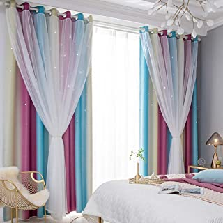 Gradient Ombre Curtains Star Curtains Double Layer...