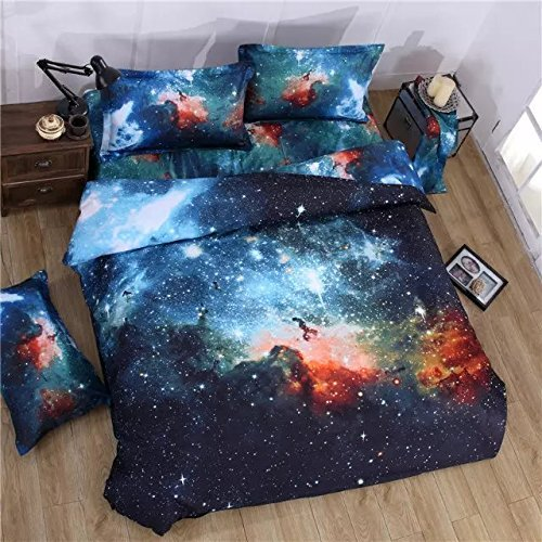 JUWENIN, 3PCs Duvet Cover Sets, 3D Galaxy Printing Themed, Comfortable, Soft Bedding Set (Double, 006)