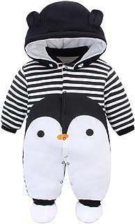 Bambino Pagliaccetto con Cappuccio Scarpe Tute da neve Cartone Animato Jumpsuit Inverno Caldo Tutine Set, Pinguino 0-3 Mesi