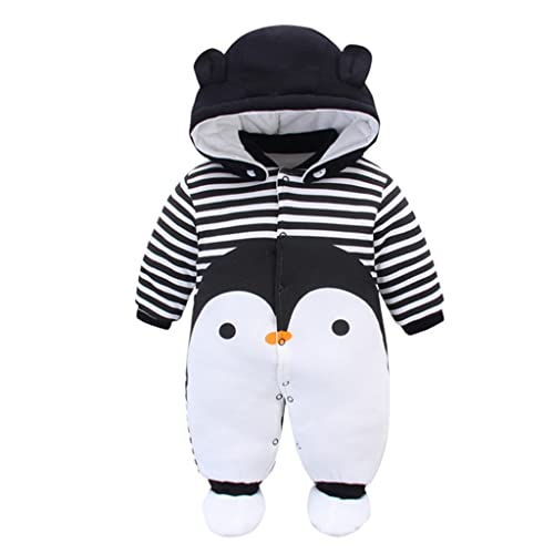 d42e41bd8d23 Baby Rompers with Footies Hat Boys Girls Hooded Jumpsuit Infant Winter  Outfits Set for 0-