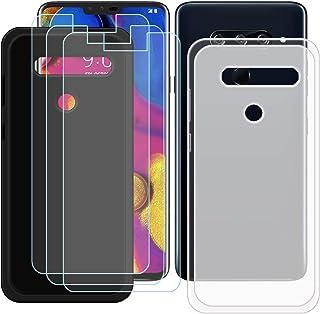 YZKJ [2 stycken skal för LG V40 ThinQ Cover svart halvlätt silikon skyddande skal TPU skal skal skal + 3 x pansarglas skär...