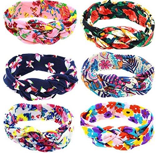 Demarkt Bandeau Cheveux Bébé Filles Imprimé Élastique Lot Florale Accessoire Baptême Fête Photo Oreille 6PC