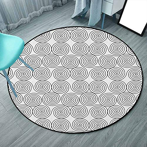 DragonBuildingMaterials Celtic Collection - Alfombra redonda de 1,88 m, color blanco y negro, diseño celta de triple espiral, con líneas simétricas rotacionales, antideslizante (redondo, 190 x 190 cm)