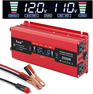 Yinleader Car Power Inverter 1000W/2000W(Peak) DC 12V to 110V AC Converter with Intelligent LCD Display Dual AC Outlets Dual USB Charger for RV Caravan Truck Laptop(Red)
