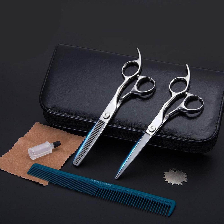 シンポジウムファン活性化ハイエンド理髪はさみ、6インチ理髪師理髪セット歯はさみ+フラットせん断セット モデリングツール (色 : Silver)