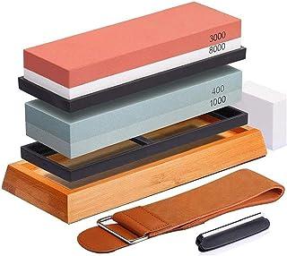 Slijpsteen Set 400/1000 3000/8000 Whetstone met antislip Bamboo Base, Abrasive Tool Abrasive