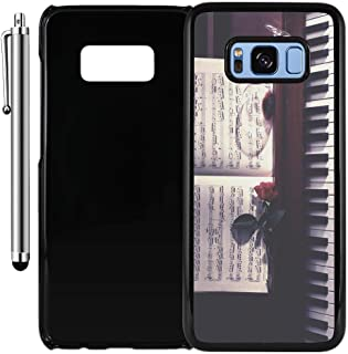 Custom Case Compatible with Galaxy S8 Plus (Sheet Music Roses Wine and Piano) Plastic Black Cover Ultra Slim | Lightweight | Includes Stylus Pen by Innosub