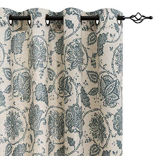 Paisley Scroll Printed Linen Curtains Grommet Top - Medallion Design Jacobean Floral Printed Curtains Burlap Vintage Living Room Window Treatment Set 84 Inch Long (Teal, 2 Panels)