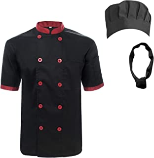 Unisex Short Sleeve Cooking Chef Coat Jacket & Hat & Bandana Set