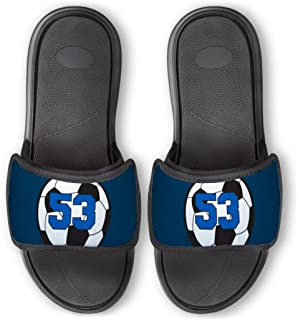ChalkTalkSPORTS Personalized Soccer Repwell Slide Sandals | Soccer Ball Number | Navy | W8.5