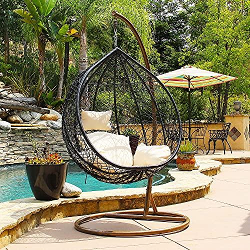 Jerry & Maggie - Patio Swing Chair Outdoor Wicker Plastic Tear Drop Swing Lounge Chair with Mat & Support Frame