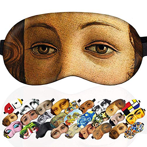 Sleep Mask Afrodite The Birth of Venus Sandro Botticelli for Women - 100% Soft Cotton - Comfortable Eye Sleeping Mask Night Cover Blindfold Masterpieces (The Birth of Venus, Plastic Pack)