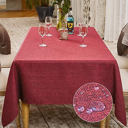 Balcony&Falcon Tischdecke Leinenoptik tischdecke abwaschbar Tischtuch Leinen Tischläufer Tischwäsche Eckig Wasserdicht Tischdecke Rot 140 x180