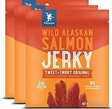 Fishpeople Wild Alaskan Salmon Jerky, Sweet + Smoky Original, 2.15 ounce (3 pack), 24g..