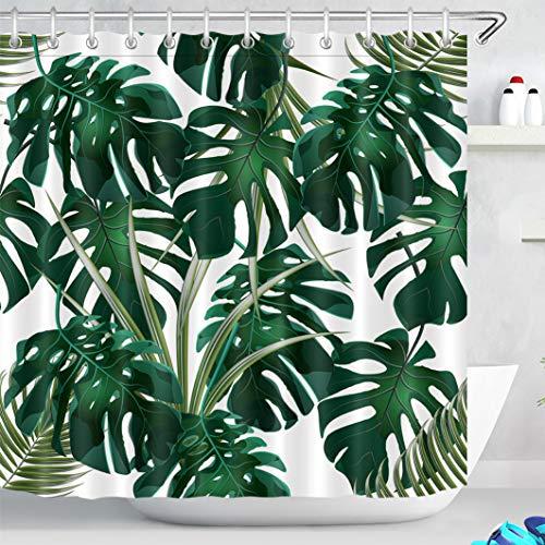 LB 180x180cm Duschvorhang Dunkel Grün Monstera Blätter Wasserdicht Anti Schimmel Weiß Polyester Badezimmer Vorhänge mit 12 Haken,Tropisch Wald Pflanz