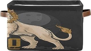 PUXUQU Panier de rangement pliable Lion Lion Lion Lion - Boîte avec poignées - Panier de rangement pour placard, étagères,...