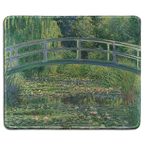 dealzEpic - Art Mousepad - Natural Rubber Mouse Pad with Famous Fine Art Painting of The Water-Liliy Pond by Claude Monet - Stitched Edges - 9.5x7.9 inches