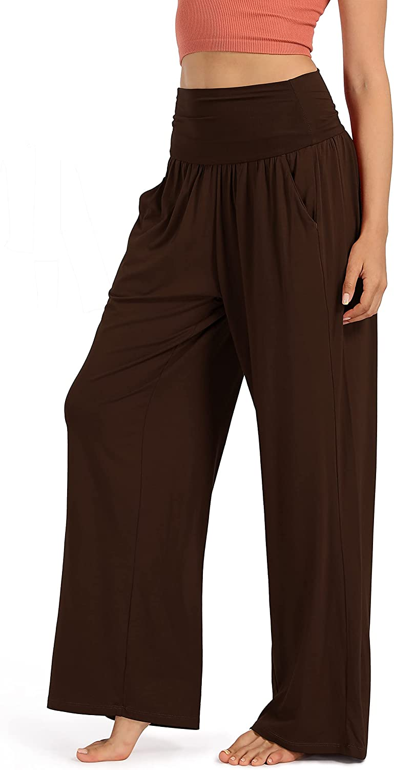 ODODOS Women's Wide Leg Palazzo Lounge Pants with Pockets Light Weight Loose Comfy Leisure Casual Pajama Pants