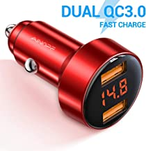 Car Charger Adapter, AINOPE Dual QC3.0 Port 6A/36W USB Car Charger All Metal Cigarette Lighter USB Charger Voltage Display Compatible with iPhone 11/11 pro/XR/X/XS/8, Samsung Note 8/S9/S10+/S8 - Red