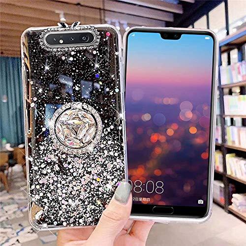 Kompatibel mit Samsung Galaxy A80 Hülle mit Diamant Ring Ständer,Handyhülle Galaxy A80 Glänzend Bling Glitzer Stern Transparent Silikon Hülle TPU Schutzhülle Case Tasche,Schwarz