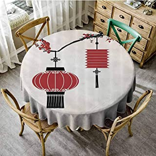 DILITECK Decorative Round Tablecloth Lantern Decor Collection,Chinese Lantern Hang on a Cherry Tree Celebration Flower Oriental Design Artwork,Black Red Picnic Tablecloth Diameter 63 inch