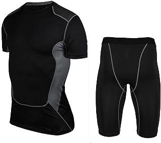 LANBAOSI Men's Compression Shorts 4 Way Stretch Breathable Cool Dry Shorts Set