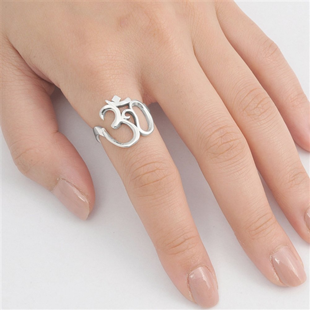 Women's Om Sign Symbol Open Unique Ring New .925 Sterling Silver Band Sizes 5-10