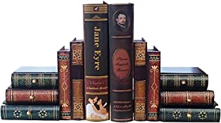 Bookends False Book Shelf Tidy Book Ends - Heavy Vintage Storage Office Study CDs DVDs Exploration Decorative Gifts (A)