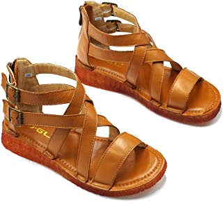 Womens and Girls Leather Flat Gladiator Sandals
