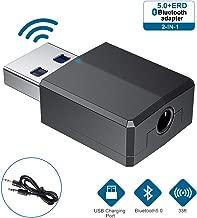 Adaptador Bluetooth, Adaptador Bluetooth 5.0 Dongle Transmisor Receptor Hi-fi con Cable de Audio Digital de 3.5 mm para PC/TV/Coche/Hogar [Se Necesita Fuente de alimentación USB] (Black)