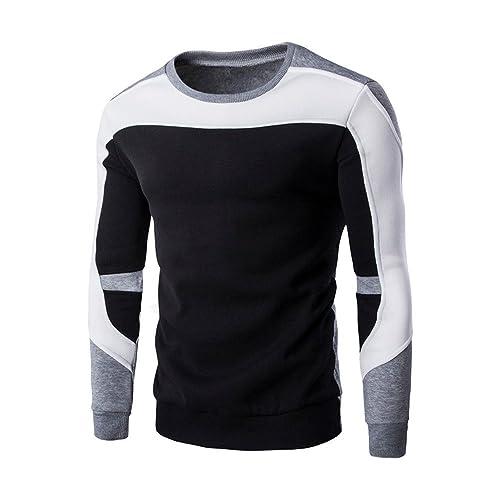eebda1bf3608 JYJM Herren Head Stitching Langarm Pullover Herren Rundhals Shirt Herren  Stitching Color Shirt Herren Langarm Pullover